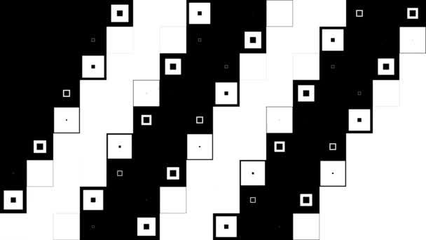 Kontrast černé a bílé abstraktní čtverce motion design. Pozadí s bílými a černými čtverečky. Bezproblémová, opakování. Abstraktní černá bílé pixel blokové pohybující pozadí