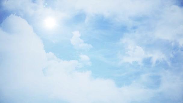 Mraky s odpoledním slunci. Animace mraky na modré obloze.
