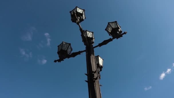Light vintage Post With Blue Sky Background. Street lamp outdoor. Footage