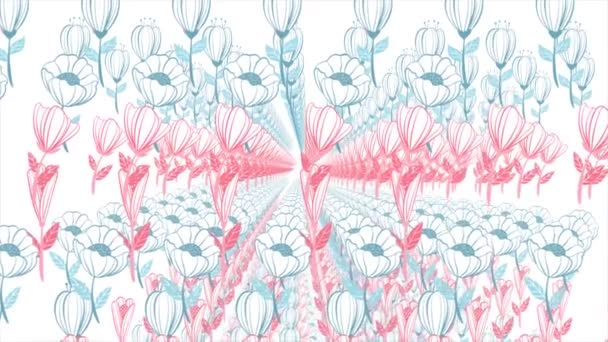 Háttér, az animáció festett virágok. Gyönyörű virágos háttér
