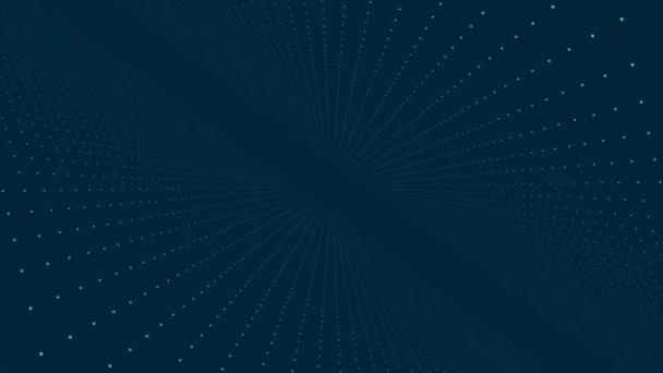 Pohyb v prostoru bodů. Abstraktní animace. Koncept futuristické virtuální svět