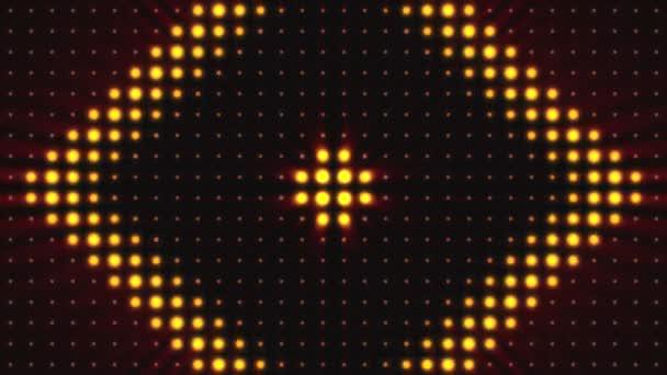 Světlé povodňových světla pozadí s částicemi a záře. Zlatý odstín. Bezešvá smyčka. Výstražná světla blikat Vj blikající krabice světla žárovka fáze. Reflektory disco pozadí s částicemi. Zlatá kreativní