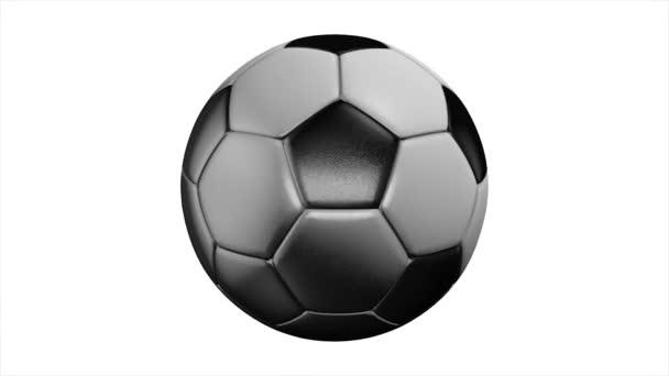 Realistické kůže fotbalový míč otáčí na bílém pozadí. Animace z fotbalové míče na bílém pozadí