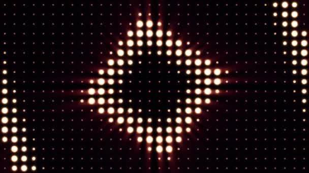 Koncert prvky. Panel s Led žárovkou. Abstraktní pozadí s animací zoomu kruhů v led obrazovky. Pestré taneční parket s několika zářící. Cetka Glitter.