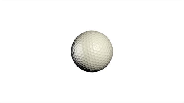 Golfball rotierend auf weißem Hintergrund. Golfball-Animation
