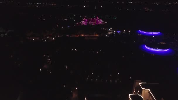 Top view of the luxury hotel at night. Clip. Night view of the bright tourist hotel