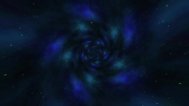 Flying Through Black Hole Tunnel Power Energy Release Spectacular Science Fiction Scene Loop Animation With Wormhole Interstellar Travel Through A Blue Force Field On A Grid With Galaxies And Stars Stock Video C
