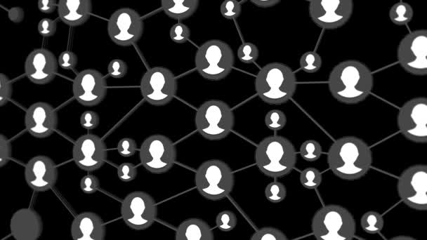 social Network animation for use in presentations, manuals, design, etc. Network seamless loop. Network growing loop. Social network world map animation