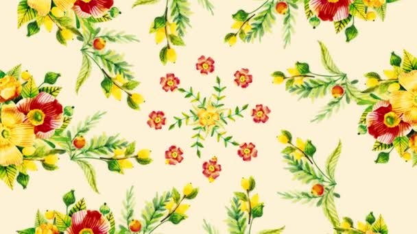 Animation of growing flowers, floral background, blooming flowers, botanical pattern. Decorative transition with growing pains flowers. growing flowers frame
