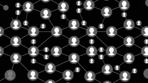 Verbindungen über soziale Netzwerke. Menschen im Internet miteinander verbinden, Knoten, die sich in die Form einer Weltkarte verwandeln. Bewegungsgrafik-Animationsnetzwerk. Menschen-Netzwerk wächst rasant in ein soziales Netzwerk.