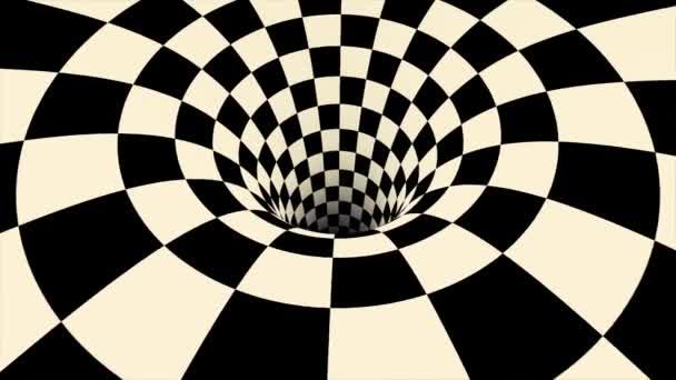 Animace z černé a bílé optický klam. Černá a bílá spirála optický klam ilustrace, abstraktní pozadí grafiku majetku, Hypnotising whirlpool efekt. Bezproblémové cyklických abstraktní pohyb