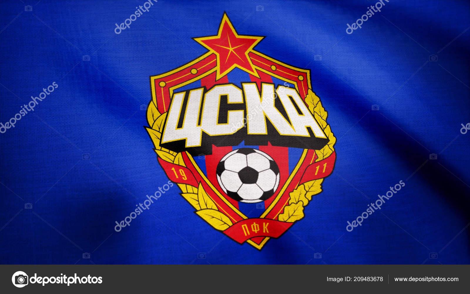 d62f83a4d12 Close-up of waving flag with FC CSKA Moskva football club logo ...
