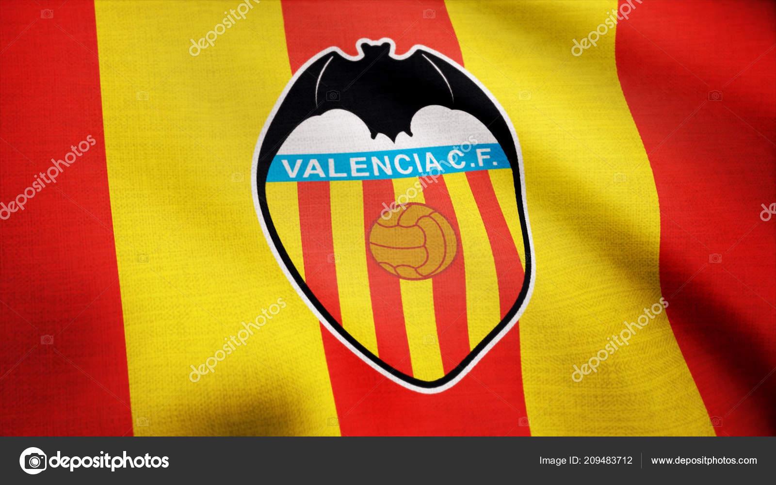 ab350b98b90 Close-up of waving flag with FC Valencia football club logo ...
