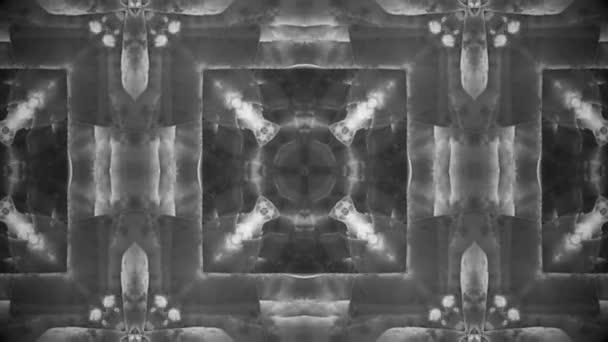 Monochromatický kaleidoskop patternů sekvence. Abstraktní barevné pohybu grafiky pozadí. Nádherná ozdoba. Bezešvá smyčka