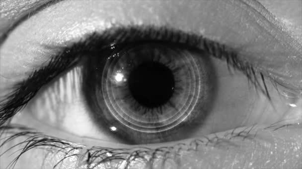 Lidské oko skenování technologie rozhraní animace. Detail z high-tech cyber oka, monochromatické