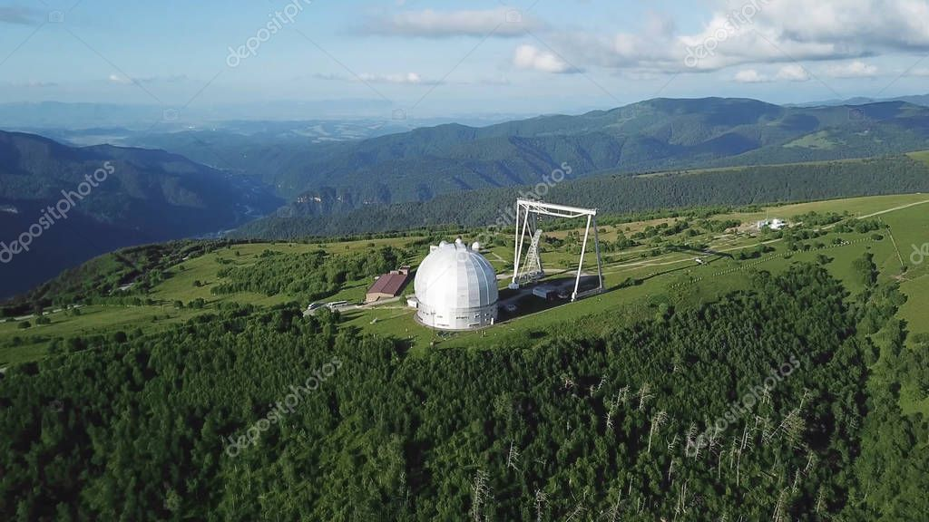Top view of the star research center. Largest telescope in the mountainous area of studying the stars