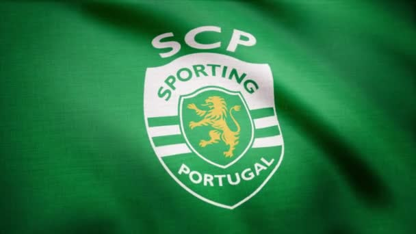 USA - New York-i 2018. augusztus 12.: Sporting Portugália lobogója hullámzó. Integetett zászló-Portugália sport futball club logóval. Szerkesztői felvétel