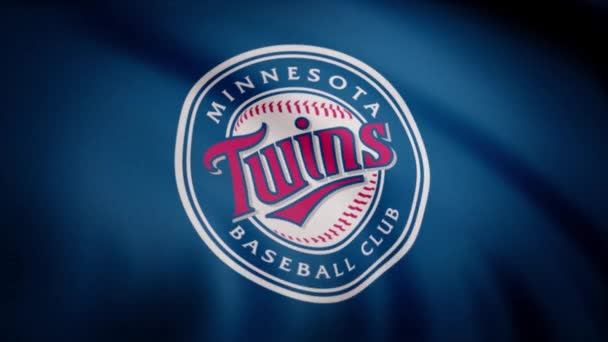USA - NEW YORK, 12 August 2018: Close-up of waving flag with Minnesota Twins MLB baseball team logo, seamless loop. Editorial footage