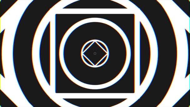 Kaleidoskopy pozadí s animovanou zářící neon barevné linie a geometrické tvary. Černá a bílá pohybu pozadí smyčky. Hypnotické rytmické hnutí černá a bílá květina kaleidoskop