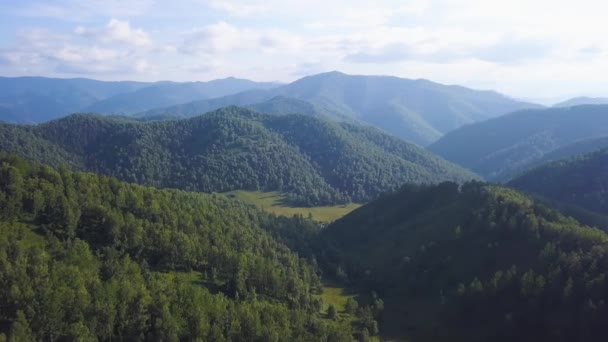 Flying over the beautiful mountain River and beautiful forest. Clip. Aerial camera shot. Landscape panorama. Altai, Siberia. Aerial View. Flight over a green grassy rocky hills. Altai Mountains