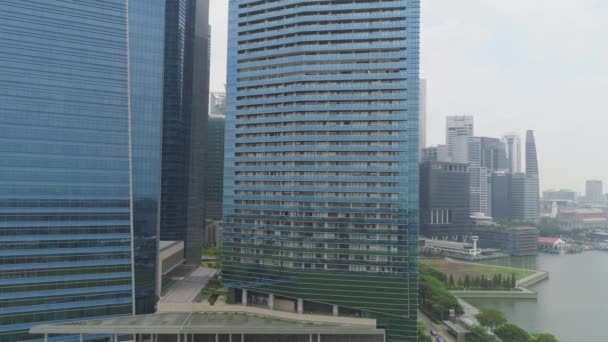 SINGAPORE - June, 2018: Colorful cityscape of Singapore from rooftop. Shot. Futuristic skyscrapers. Top view of the financial center of Singapore with skyscrapers