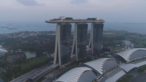 Beautiful Top View Of The Famous Singapore Marina Bay Sands Hotel