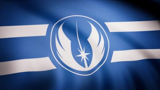 The animation of the flag of the Jedi Order Symbol. The star Wars theme. Editorial only use