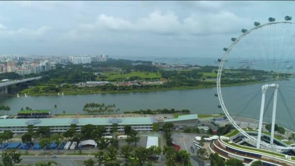 Ferris wheel in Singapore, aerial view. Shot. Singapore Aerial view of the Clarke quay Day Singapore river