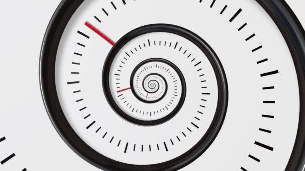 Pohybující spirála času. Spirála hodiny bezešvé nekonečné Zoom pohybu pozadí. Čas abstrakt. Infinity hodiny