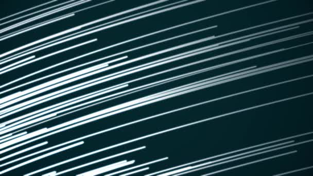 Minimalist background animation of flowing streaks of light with multicolored abstract lines. Abstract composition with flying animated stripes and chaotic small particles, computer graphics. Lines