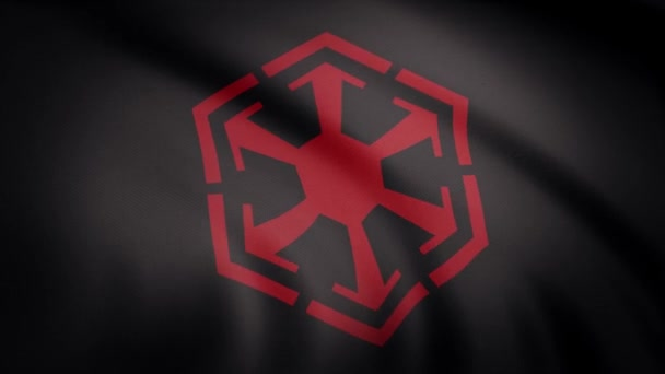 Waving in the wind flag with the symbol of Sith Empire. The animation of the flag of the Sith Empire Symbol. The star Wars theme. Editorial only use.