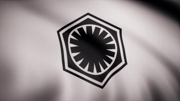 Waving in the wind flag with the symbol of Star Wars. The animation of the flag of the Star Wars Symbol. The star Wars theme. Editorial use only