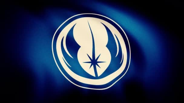 Waving in the wind flag with the symbol of Jedi Order. The animation of the flag of the Jedi Order Symbol. The star Wars theme. Editorial only use