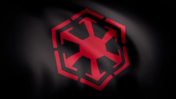 Waving in the wind flag with the symbol of Sith Empire. The animation of the flag of the Sith Empire Symbol. The star Wars theme. Editorial only use