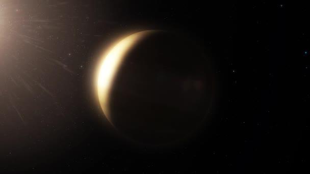 Hluboký vesmír planety v sluneční soustavě. Hvězdy na obloze. Neobydlená planeta ve vesmíru. Animace z planety