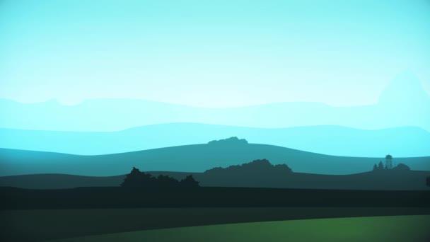 Animace pohybu krajiny ve stylu kreslených. Koncepce digitálního designu. Smyčka animace pozadí hory