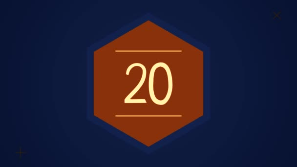 Countdown leader graphic with amazing white graphic hexagons 25 to 0. Countdown Motiongraphic 0 to 25. Simple countdown animation