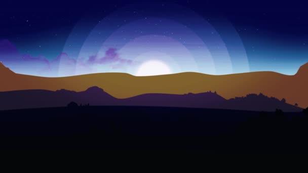 Animace z noční oblohu s mraky. Animovaný film pouštní duny na hvězdné noci s měsícem. Měsíc s hvězdami a mraky. Bezproblémovou smyčky. Světlušky smyčka