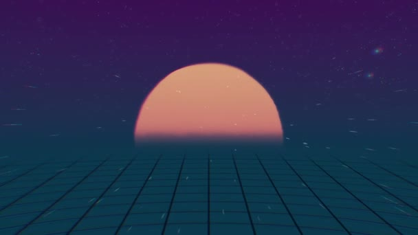 Retro Futuristic.Flight over the grid and sunset. 80s Retro Sci-fi. Retro 80s style grid sun stars old tv screen animation background, new unique vintage beautiful dynamic joyful colorful video