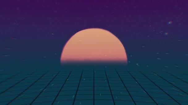 Retro-Futuristic.Flight über das Netz und den Sonnenuntergang. 80er Jahre Retro-Sci-Fi. 80er Jahre Retro Stil Raster Sonne Sterne alt tv Animation Bildschirmhintergrund, neue einzigartige Vintage schöne dynamische fröhlich bunten video