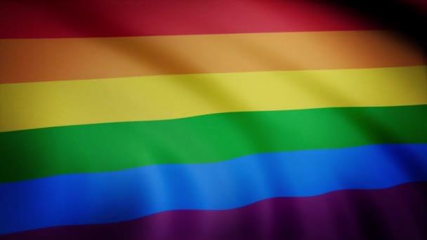 Duhová vlajka gay hrdosti mává zpomaleně, bezproblémově smyčkou, zblizka, izolované na alfa kanál s matnou černou a bílou světelnosti. Realistické Duhová vlajka mávání ve větru. Bezešvá smyčka