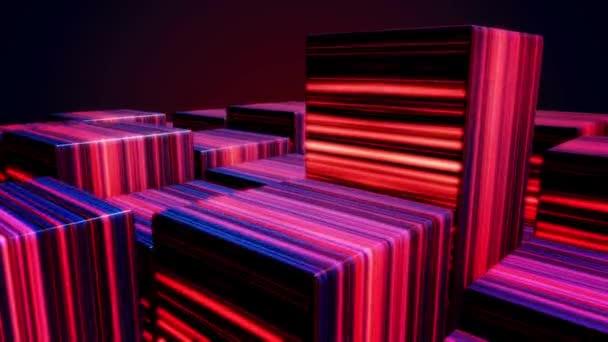 Magické a barevné boxy vyrobené z zářící paprsek. Duha Led pozadí. Neon 80s styl abstraktní kostky animace