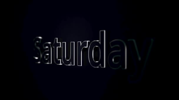 Day of the week saturday from grey 3D letters approaches and moves away. Word saturday on black and grey background