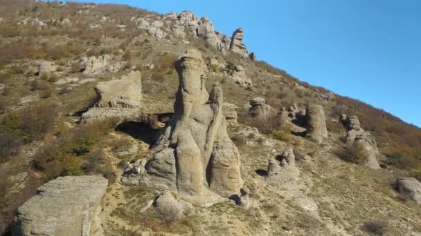 Amazing landscape of rock formation. Shot. Beautiful landscape of mountain rocks