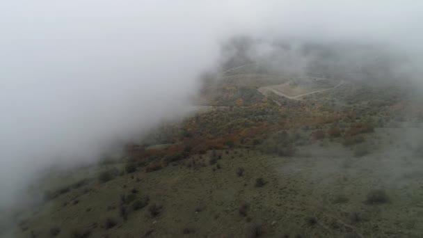 Pohled shora přes cloud na podzimní les. Střela. Malebná krajina husté mlhy a podzimní les