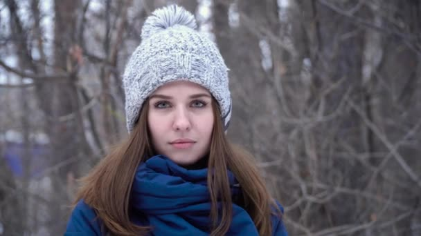 Young smiling woman in hat in winter. Beautiful woman in warm clothes on background of winter grove