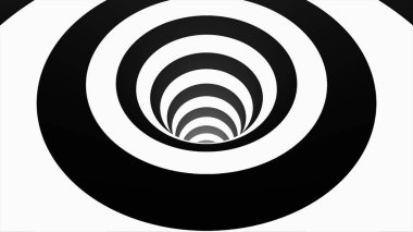 Animated hypnotic tunnel with white and black squares. Striped optical illusion three dimensional geometrical wormhole shape pattern motion graphics. Optical illusion created by zoom in of black and