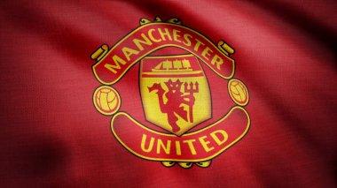 USA - NEW YORK, 12 August 2018: Waving FC Manchester United flag. Close-up of waving flag with Manchester United F.C. football club logo, seamless loop. Editorial footage