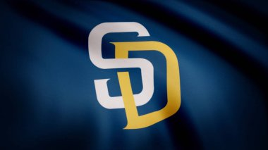 USA - NEW YORK, 12 August 2018: Waving flag with San Diego Padres professional team logo. Close-up of waving flag with Baseball San Diego Padres club logo, seamless loop. Editorial footage