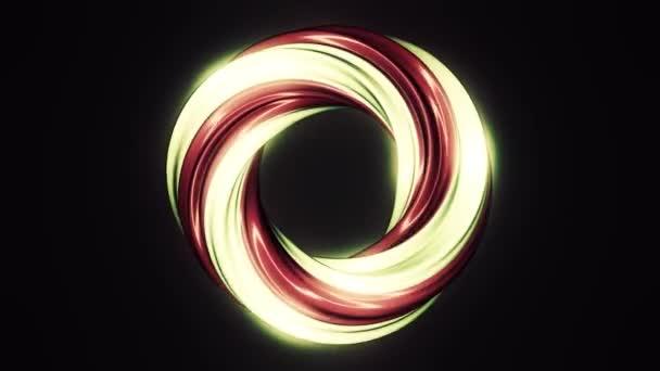 Červené a béžové barvě kolo bonbóny lollypop předení na černém pozadí, bezešvé smyčka. Abstraktní, rotační, sladké lízátko bez holí na černém pozadí